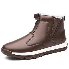 Men Comfy Genuine Leather Slip Resistance Warm Fur Lining Snow Boots (1218490) #Banggood (SuperDeals.BG) Tags: superdeals banggood bags shoes men comfy genuine leather slip resistance warm fur lining snow boots 1218490
