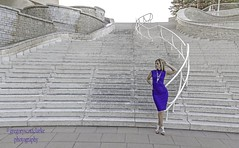Rosie - curve turns blue at the bottom. (gregoryscottclarke photography) Tags: rosanneneddo museumofcanadianhistory pink black blue boat stone stairs pathway summer hat