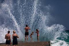 Say Splash! (Kostas Karageorgiou) Tags: holidays girls islands greek fun ef70200mmf28lisiiusm crete vacations summer grecotel tirquoise beach posing canon eos 5dmkiv 5d mkiv aegean sea greece crashing waves dock turists play