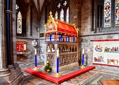 The shrine of Thomas de Cantalupe (rustyruth1959) Tags: northtransept statue noticeboard plinth canopy floortiles tiles red elaborate columns candle candlestick windows stainedglass stainedglasswindows pope bishopofhereford chancellorofengland pilgrims placeofworship religiousbuilding indoor stonecarvings mural architecture thomasdecantelupe shrine tomb cathedral herefordcathedral hereford herefordshire england uk tamron16300mm nikond5600 nikon