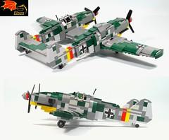 Bf-109Z side rear views (Eínon) Tags: bf109z messerschmitt me109z 109 z heavy fighter interceptor bomber germany ww2 lego