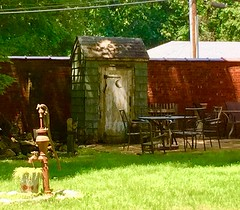 Outhouse, Picnic Table, and Water Pump (JFGryphon) Tags: waterpump baldwinnewyork picnictable outhouse dunny