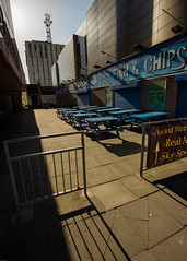 Crisp & Golden (subterraneancarsickblues) Tags: blackpool lancashire seaside town resort urban street wide wideangle shadows promenade seafront restaurant seafood gold canon 6d eos6d 1635mm f4l lseries