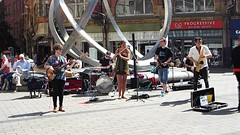 City Centre Busking - Belfast Style (sean and nina) Tags: music musician men women male female belfast city centre busking buskers busk drums flute sax saxaphone guitar bass key board irish ireland eu europe european performers performance performing group jazz live summer june 2018 heat warm hot wave sun sunshine outdoor outside public candid people persons audience instruments happy video film recording movie