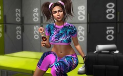 I do-nut like the gym (Chelsea Chaplynski ( Amity77 inworld)) Tags: chicchica donut kebab noticeme senpai event moon hair collab88 backdrop city bauhausmovement pose gym chelsea secondlife sl avatar aleutia surrealia outfit equal10 top pants mainstore