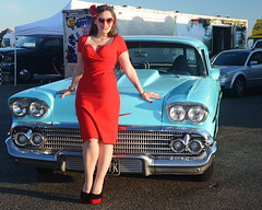 Holly_9254 (Fast an' Bulbous) Tags: girl woman car vehicle classic american chevrolet red wiggle dress stockings people automobile outdoor pinup model