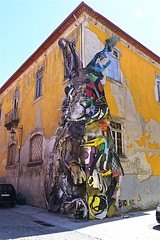 Recycled Rabbit!!  (Gaia) (maginoz1) Tags: porto holiday portugal streetart june canon g3x rabbit recycled june2018 gaia