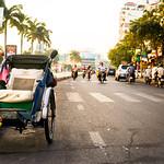 Cyclo parked along the street in Phnom Penh, Cambodia thumbnail