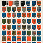 A collection of colorful ancient French heraldic blazons from the book, Nouveau Larousse illustré : dictionnaire universel encyclopédique by Larousse, Pierre and Augé, Claude. Digitally enhanced from our own original chromolithograph. thumbnail