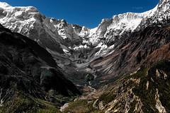 Glacier linking Annapurna III & IV (YogiMik) Tags: annapurna range himalaya nepal yogimik yogi mik mountains glacier ice blue sky valley trees river awesome beautiful landscape amazing philosophy life