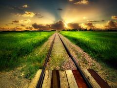 Dakota tracks 23 (mrbillt6) Tags: landscape rural prairie railroad tracks grass sky sunrise outdoors country countryside northdakota