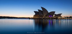 Sydney Opera House at Sunrise (StefanKleynhans) Tags: sydney opera house culture arts sunrise ocean water reflection nsw australia architecture bluehour nikond800e nikon1635mmf4 blue orange light