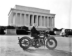 Mrs. Sally Halterman first woman to be granted a license to operate a motorcycle in the District of Columbia. 27 years old and 4 feet, 11 inches tall, she weights only 88 pounds--one-third of the machine she rides. Sept 1937. (polkbritton) Tags: harrisewing 1930s washingtondchistory motorcycles libraryofcongresscollections vintagefashion
