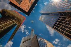 Skyscrapers (FocusPocus Photography) Tags: frankfurt hochhäuser skyscrapers himmel sky flugzeug plane