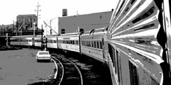 rn2-87ms-p3a-cr 2x1a (George Hamlin) Tags: indiana lafayette railroad passenger train new york central nyc 304 james whitcomb riley streamliner posterized version auto rails parking lot buildings monochrome pullman standard stainless steel coaches 3000 series grill diner curve evening photo decor george hamlin photography