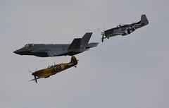 USAF Heritage Flight. (NickS1966) Tags: usaf heritage flight f35 lightning ii north american p51d mustang supermarine spitfire aviation fighter aircraft airshow nikon d7100 tamron150600mm