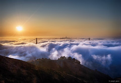 Ocean of Fog (Joseph Greco) Tags: goldengatebridge hawkhill sanfrancisco fog sunrise landscape cityscape skyline bridge clouds
