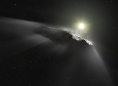 Artist's impression of the interstellar asteroid `Oumuamua