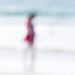 Rouge (Bruus UK) Tags: harlyn beach oof woman reddress red simplyred coast ocean blue abstract beachlife cornwall walking sand water flowing girl sunlight minimal seascape livingcornwall outdoorphotography