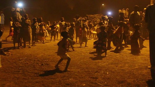 Senoufo dances near Boundiali - village children join