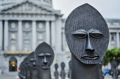 powerful, peaceful and totemic (pbo31) Tags: sanfrancisco california nikon d810 color july 2018 boury pbo31 summer city urban civiccenter cityhall art zakové invisiblemanandthemasqueofblackness sculpture handsup platoon soldiers public plaza gray men depthoffield