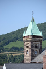 Steadily, Sensibly, Never Too Quickly, Never Too Slowly (mitchell_dawn) Tags: abergavenny clock tower markethall hillside green mountainside time spire