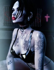 Stellarvore (marduklust resident) Tags: sl avatar second life asteroidbox inker red light district rld man jail marduklust vampire metal girl headbanging black