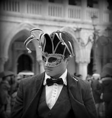 Mask (pjarc) Tags: europe europa italy italia veneto venetian venice venezia maschera mask boy ragazzo situazione situation momento moment dettaglio detail foto photo digital bw black white bianconero inverno winter 2018 camera nikon dx carnevale carnival