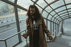 july 18 (d_downtown) Tags: walking moscow sunlight portrait film canon mark iii man long hair trenchcoat coat
