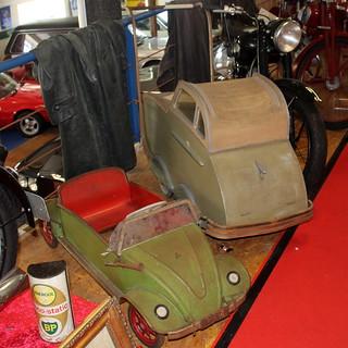 Pedal car and pram