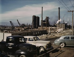 Columbia Steel Co., Geneva, Utah. The new plant will make important additions to the vast amount of steel needed for the war effort. November 1942. (polkbritton) Tags: andreasfeininger 1940s vintagecars classiccars worldwarii wwiihomefront utahhistory fsaowi libraryofcongresscollections