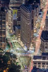 Flatiron Building, NY (Julien CHARLES photography) Tags: building etatunis flatiron flatironbuilding manhattan ny nyc newyork usa carlight carlighttrails cartrails city lights longexposure night nightview trails ville