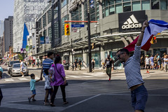 Celebration (Aaron Allen Rogers Toronto) Tags: person france flag people celebration moment toronto downtown city urban buildings sun summer soccer world cup running run smile close up