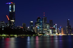 Brisbane River Blue Hour 2 (Aussie Dave B) Tags: australia queensland brisbane river water night morning bluehour lights urban city park boats buildings