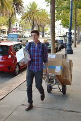 A cart for carrying (radargeek) Tags: castro sanfransisco ca california cart boxes deliveries