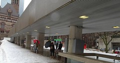 Umbrellas definitely needed today in Toronto (Trinimusic2008 -blessings) Tags: trinimusic2008 judymeikle nature bench hbm today april 2018 nathanphillipssquare rain slush snow wet buildings architecture toronto to ontario canada tourism sonydschx80 umbrellas candid rainy
