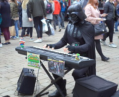 Darth Vader plays Super Mario tunes in Manchester (Tony Worrall) Tags: city england regional region area northern uk update place location north visit county attraction open stream tour country welovethenorth nw northwest britain english british gb capture buy stock sell sale outside outdoors caught photo shoot shot picture captured manchester manc gmr urban outdoor people street busker beg darthvader play music keyboard fun quirky