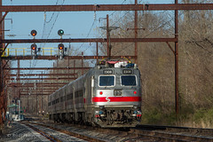SEPTA Train #6374 @ Yardley, PA (Darryl Rule's Photography) Tags: 2018 6374 6378 aem7 alp44 april bridge buckscounty catenary delawareriver electric outbound pa passenger passengertrain pennsylvania railroad railroads reading readinglines readingrailroad septa spax signal signals spring sun sunny train trains westtrentonline yardley