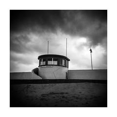 Lifeguard Station (osh rees) Tags: bundoran county donegal north west ireland lifeguard station seaside stormy dark weather holga 120 medium format square kodak trix 400