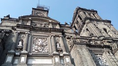 Looking Up at the Bell Towers, Metropolitan Cathedral, Plaza de la Constitución, Centro Historico, Mexico City, Mexico (dannymfoster) Tags: mexico mexicocity zocalo centrohistorico building cathedral metropolitancathedral belltower