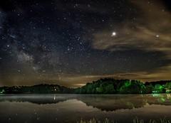 The stars and galactic core visible over Lake Logan, Ohio. (arthuroleary) Tags: stars longexposure sky sonya6500 sony rokinon rokinon12mm milkyway nightphotography photo landscape