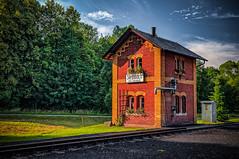 a beautiful old railway keeper's house (Peter's HDR hobby pictures) Tags: petershdrstudio hdr railroad railwaykeepershouse eisenbahn bahnwärterhäuschen gras green grün sky himmel