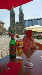 When in Bremen... (stephengg) Tags: hanseatic city bremen freie hansestadt germany free table market square marktplatz cathedral beer ice cream sundae red parasol shade