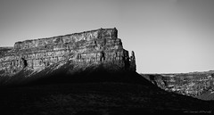 While The Earth Remains (Chris Lakoduk) Tags: umatillarock dryfalls grantcounty earth arid hot weather basalt rocky landscape panorama blackandwhite shadows light