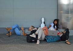 As the movie drags on (radargeek) Tags: den denver airport travel colorado travelers traveler kid kids children laptop teenager sandals