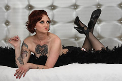 Kate Reynolds at the Hilton (Mitch Tillison Photography) Tags: beautiful stunning gorgeous woman female model pinup glamour retro pose boudoir bed implies stockings heels tattoo beauty form redhead redhair nikon mitchtillison photo photography shoot d5 godox strobe hotel