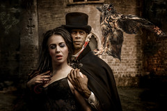 The descent (sophie_merlo) Tags: owl bird birds gothic models modelling dark castle duo romance vampire twilight