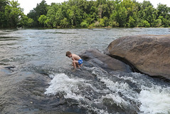 rivercrossing3 (FAIRFIELDFAMILY) Tags: jason taylor fairfield county sc south carolina broad river west columbia city rapids water swimming father son carson grant rock rocks adventure explore exploring michelle mother splash running child young boy sliding outside nature kayak kayaking white