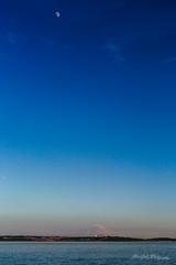 Puget Sound Sunset (ProPeak Photography - Thanks for 600,000 views!) Tags: america blue buildings clouds famousplace ferry internationallandmark moon mtrainier northamerica pnw pugetsound red seattle skyline summer sunset traveldestination travelandtourism trees usa unitedstates washington water yellow mountain