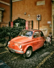 Red FIAT (Мaistora) Tags: car red small urban vintage classic icon iconic fiat street square authentic old town timeless historic mediterranean lifestyle serene peaceful quiet cinematic postcard puglia italy mobile phone